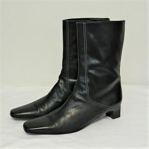 Cole Has Black Leather Boots Size 9 1/2 AA Zip